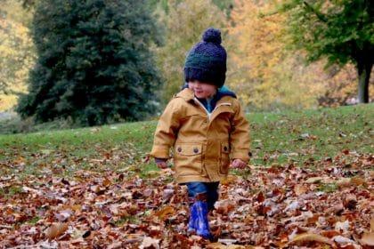 child walking outside
