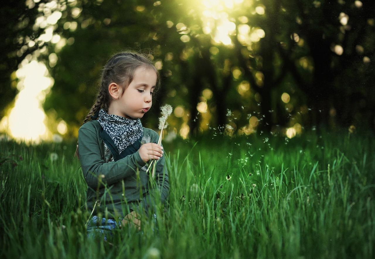 child blowing dandelion outside