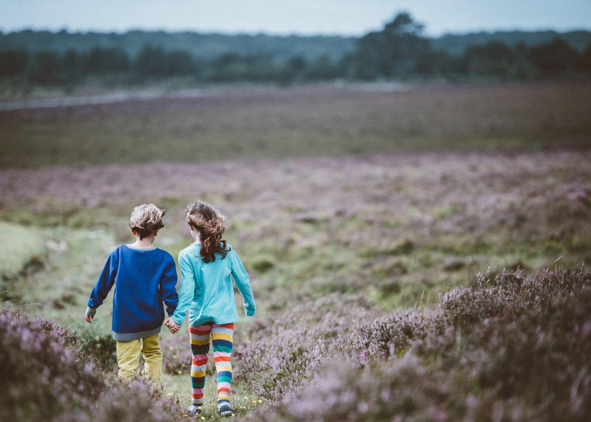 children walking outdoors