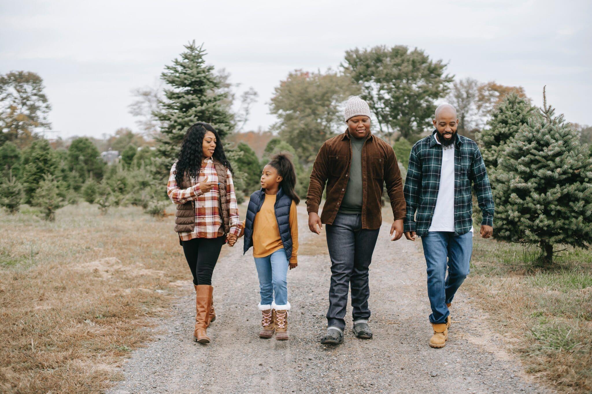 family walking nature