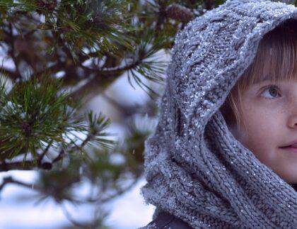 child outdoors winter